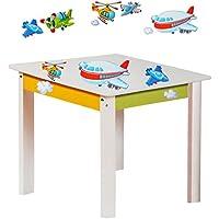 Preisvergleich für alles-meine.de GmbH Tisch für Kinder - aus Sehr stabilen Holz - Flugzeuge & Helikopter - Weiß / ..