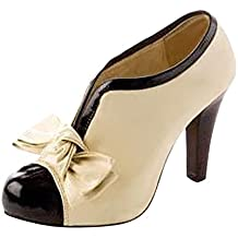 Minetom Vintage Damenschuhe Damen Bogen Pumps High Heels Beige Ankle Boots Brautschuhe Stilettosabsatz Party mit Schleife