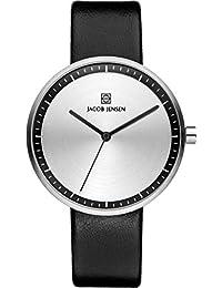 Jacob Jensen it's_amaz-reloj analógico de cuarzo cuero 280 Strata Series