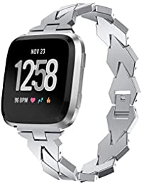 XZZTX Compatible with Fitbit Versa Lite Strap, Stainless Steel Replacement Watch Bands Bracelet Wristbands Compatible for Fitbit Versa Lite Smartwatch