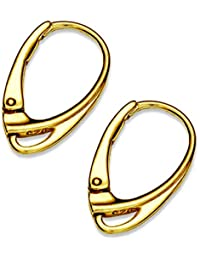 Damen Ohrringe Creolen Gold Mode Klapp Brisuren Dunkelblau Strass Ohrschmuck