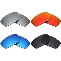 MRY 4pares polarizadas lentes de repuesto para Oakley Square Wire New 2006sunglasses-stealth negro/fuego rojo/hielo azul/plata titanio