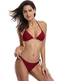 7795eae7289e7 SHEKINI Damen Bikini Set Einfarbig Und Muster Zweiteiliger Badeanzug Mit  Triangle Push Up Bandeau Padded Bandage