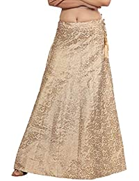 DREAM & DZIRE Women's Golden Skirt Designer in Cotton Jaquard with Lining for All Plus Size and Small Size.