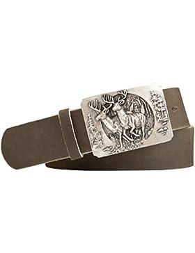 Vollrindleder Trachtengürtel mit Jäger Hirsch Gürtelschnalle - Gürtelbreite 40mm - Farbe: khaki