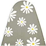 Encasa Homes Ironing Board Cover with 3mm Thick Felt Pad for Steam Press (Fits Standard Medium Boards of 112 x 33 cm) Heat Reflective, Scorch & Stain Resistant, Printed - Daisy Grey