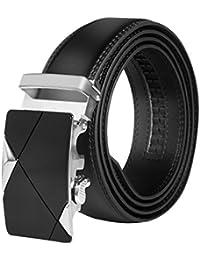 HBF Cinturón Hombre Automático Cinturón Hombre Cuero Longitud 120 cm Ancho 3.5cm CinturonNegro Con Hebillas Metal