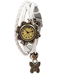 Felizo Fashionable New Look Butterfly Bracelet Vintage Multi Strap Fancy Latkan Watch For Women & Girls (White)