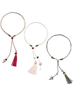 KELITCH Armband 3 Stück aus Rocailles Perlen Handmade Schnur Freundschaftsarmbänder mit farbig Quaste Anhänger