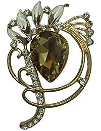 Woap Designer Dark Yellow Stone Stone Golden Polish Brooch.