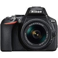 "Nikon D5600 - Kit de cámara réflex de 24.2 MP con objetivo AF-P DX 18 - 55 mm VR, pantalla táctil de 3"", Full HD, color negro - Versión Europea"