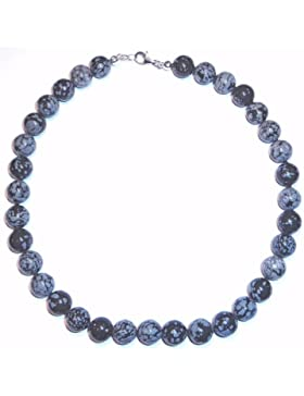 Obsidian Schmuck (Halskette) Obsidian Kette Kugeln mit Perlseide geknotet Verschluss 925er Sterling-Silber Modellnummer...