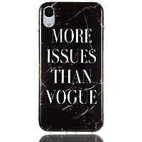 SEYCPHE Funda Silicona iPhone XR, Cascara Ultrafina Suave Cover Protectora Mármol, iPhone XR Case Anti-Rasguño y Resistente Huellas - Negro de la Moda