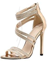 Dragon868 Donna Scarpe Tacco Alto 11.5cm Eleganti Sandalo Incrociate con  Strass 2018 Estate Sexy Sera 189cf3972a6