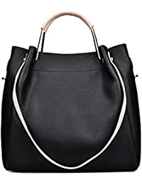 Topwigy Fashion Women'S Shoulder Purse Bags Top Handbag Multi-Purpose Pu Leather Handbag Tote Bag 2 Pieces (Black)