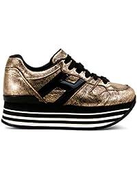 Hogan Sneakers H222 Maxi Pelle Metallic Oro Nero 85bfa5cca89