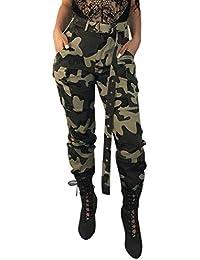 HCFKJ Mujer Ropa Elastico Fitness Invierno Moda Casual Sexy Carga Camo Pantalones Casuales Militares EjéRcito De