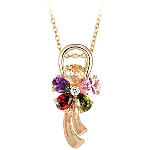 AienidD Cristales Regalos de Navidad-Collar Mujer Joven Perla Garras CZ Cadena Enlace Oval 15.5 x25mm Cuellos Dijes para las Mujeres