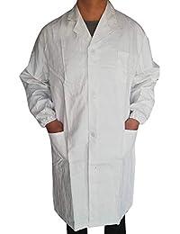 BHYDRY Mujer Hombre Unisex Bata de Laboratorio Blusa de Manga Larga Blanca Outwear con Bolsillos