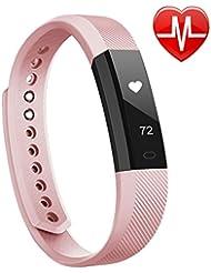 LINTELEK ® Pulsera Inteligente, Fitness Track con monitor de Ritmo Cardíaco, Podómetro, Sueño, Contador de Calorías, para iOS 7.1, Android 4.4, Bluetooth 4.0, Rosa