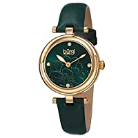 Burgi Women's Green Dial Leather Band Watch - BUR128GN