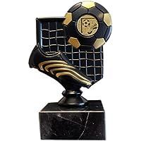 Trofeo negro fútbol con bota, ...