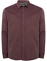 M&Co Mens 100% Cotton Cord Long Sleeve Classic Collar Button Down Front Shirt