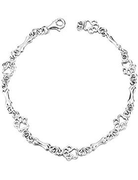 Silver Mountain 925 Sterling Silber Welpe Pfote und Knochen Armband für Frauen und Mädchen,19 cm