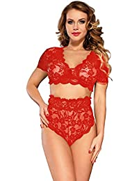 d7ff7834081 ohyeahgirl Lace Bra and Panties Plus Size High Waist Underwear Sexy Lingerie  Set for Women