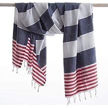 ANATURE toalla de hammam - Navy blue/Red - 100% algodón - Lavados - súper blando - consumo directo - Hamamtuch - toalla de baño - Toalla Backpacker - toalla ...
