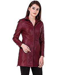 Leather Retail Cherry Colour Woman's Faux Leather Long Jacket