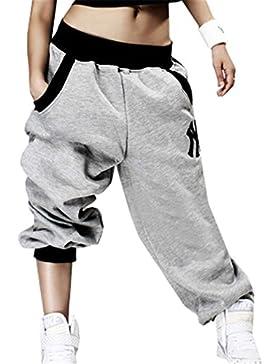 Verano Elegantes Moda Pantalones De Jogging Mujer con Bolsillos Hip Hop Cintura Media Elastische Taille Anchos...