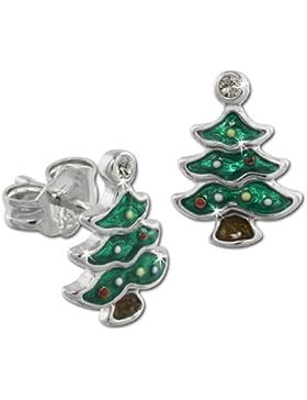 Tee-Wee Kinder Ohrring Weihnachtsbaum grün mit Zirkonias 925 Sterling Silber Kinderohrstecker Kinderschmuck SDO613G