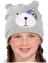 Filles tricotés Teddy Bear Face Hat - 3 couleurs 2 âges pour choisir