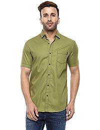 Mufti Button Down Plain Half Sleeves Shirt