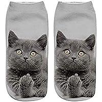 AK.SSI Calcetines de algodón Estilo Harajuku Calcetines de Barco impresión 3D Perro Lindo Gato Boca Baja Calcetines de Barco 1 par (Style J)
