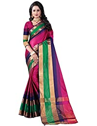 Pink Cotton Woven Saree With Blouse