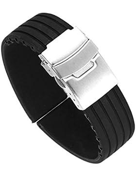 Schwarz Silicone Rubber Uhrenarmbänder Uhrenarmband Faltschließe Wasserdicht Band 20mm