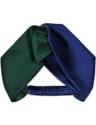 Exclusivo vintage colores verde-azul-mezclada crossover seda stretch elástico hipster cinta ancha
