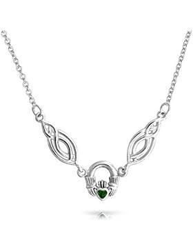 Keltischer Knoten simuliert Emerald Claddagh Anhänger Sterling Silber Halskette 16 Zoll