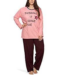 Damen Schlafanzug in großen Größen mit Motivdruck 'Dreams come true' - Moonline Plus