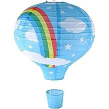 16'azul multicolor globo de aire caliente linterna de papel para lámpara de techo