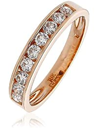 0.50CT Certified G/VS2 Round Brilliant Cut Channel Set Half Eternity Diamond Ring in 18K Rose Gold