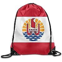 Vilico Bandera de la Polinesia Francesa Cool Gym Cordón Bolsas de Viaje Mochila de Escuela Mochila
