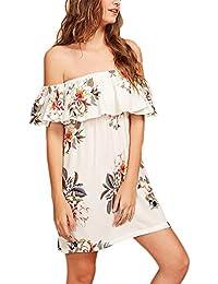 88531314df53 Battercake Donna Vestiti Estivi Corti Fashion Stampa Fiore Vestiti In Chiffon  Elegante Casuale Donne Senza Spalline