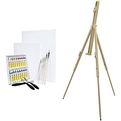 Artina - Caballete de campo Málaga y set de pintura (29 Pzas.): 18 colores al óleo/2 lienzos/5 pinceles/3 cuchillos