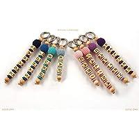 5165a21d65021e Schlüsselanhänger mit Namen Kinder - Erwachsene - Taschenbaumler -  Häkelperle - Schlüsselring - GRATIS Versand -