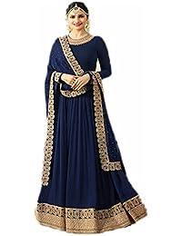 Women's Designer Georgette Heavy Zari Wok Floor Length Anarkali Dress (semi-stitched) Heavy Embroidery
