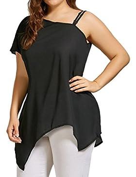 LuckyGirls Camisetas Mujer Originales Manga Corta Tirantes Hombro Sexy Irregular Negro Remeras Blusas Camisas...