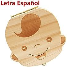Westeng Caja Almacenamiento Madera Almacenaje Para Dientes De Leche Niño Letra Español,1Pcs